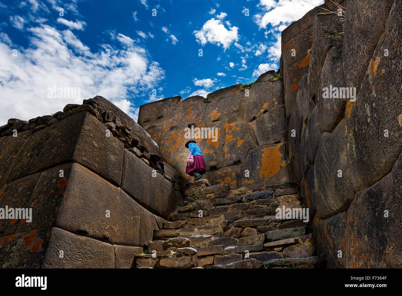 Ruinen von Ollantaytambo, in das Heilige Tal, Peru Stockbild