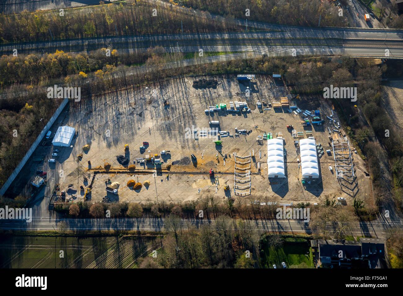 Bau von einem Flüchtlingsheim in Leichtbauweise auf dem ehemaligen Parkplatz am Opel-Werk 1, Wittener Straße, Stockbild