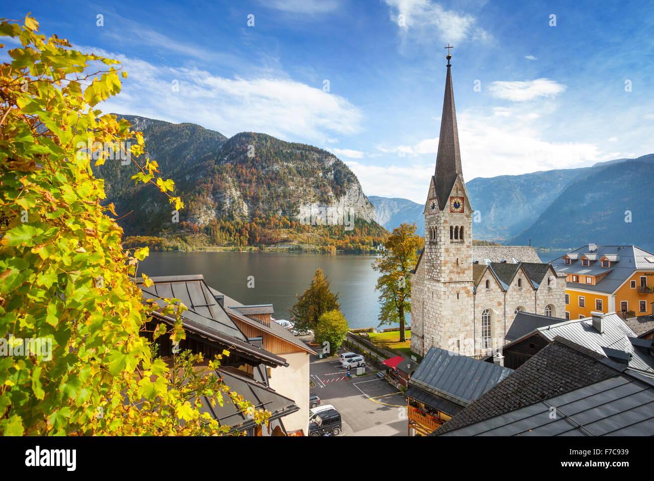 Hallstatt Bergdorf, Österreichische Alpen, Österreich, Salzkammergut, UNESCO Stockbild