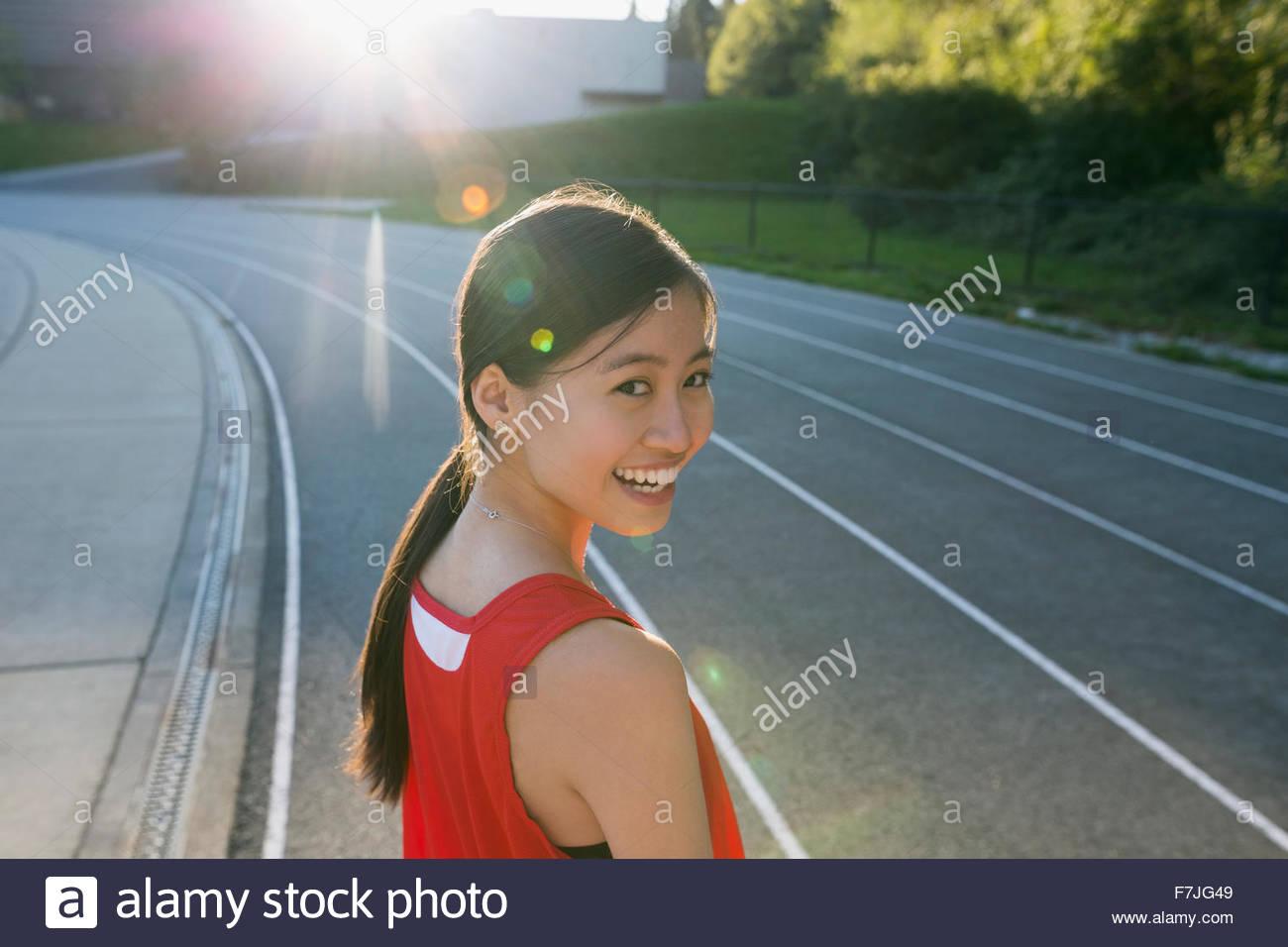 Porträt weibliche High-School Leichtathletin und Olympiateilnehmerin Stockbild