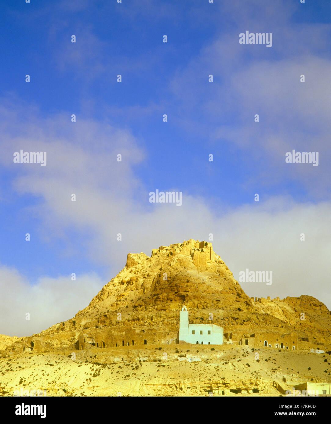 Das Hill top Dorf Speicherburg. Speicherburg, Tunesien. Stockbild