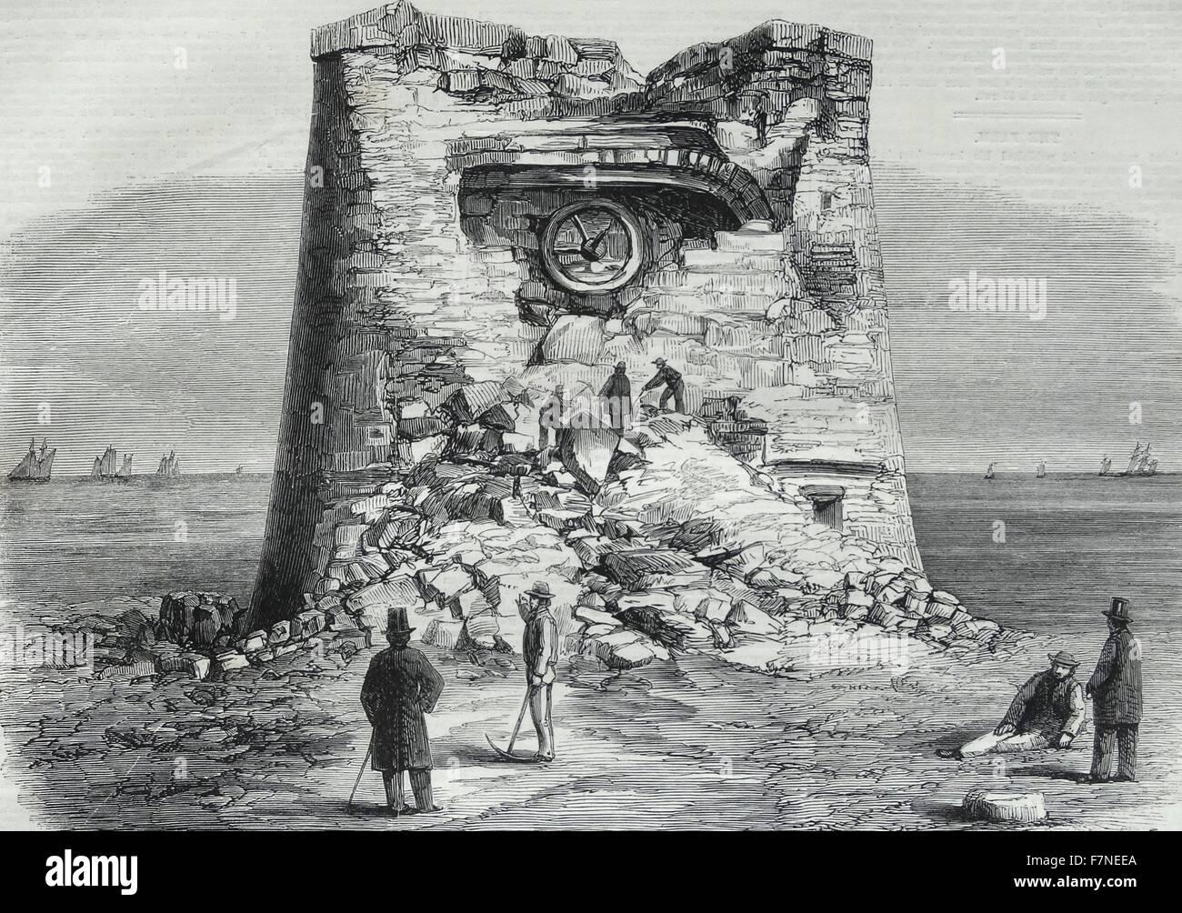Zerstörung der Martello-Turm, Eastbourne, Sussex. Stockbild