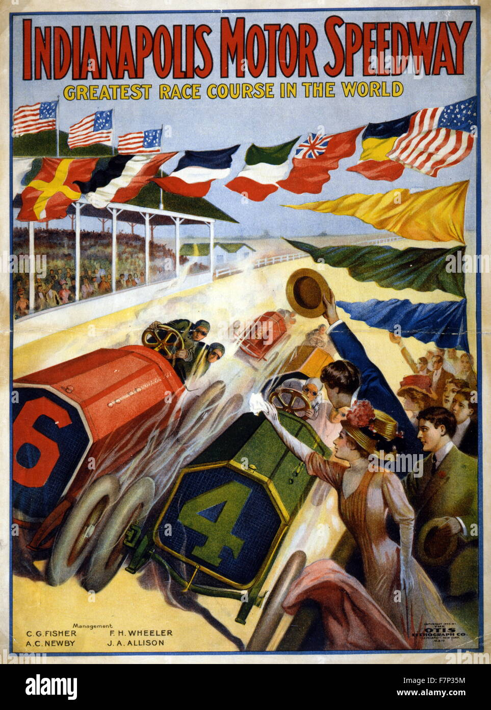 Plakat für den Indianapolis Motor Speedway 1909 Stockbild