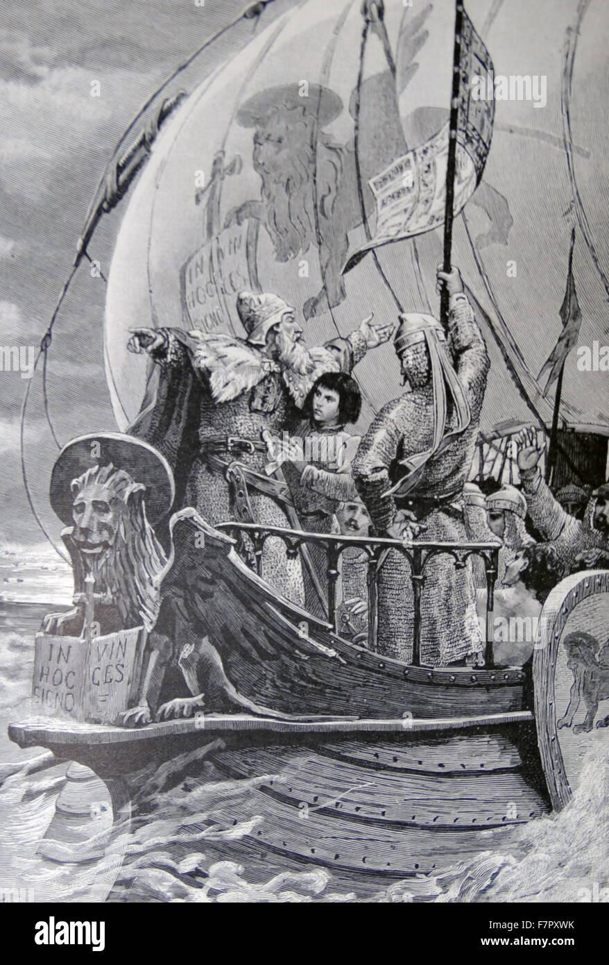 venezianische Kriegsschiff des 9. Jahrhunderts segelt um Ferrieri voraus zu widerstehen Stockbild