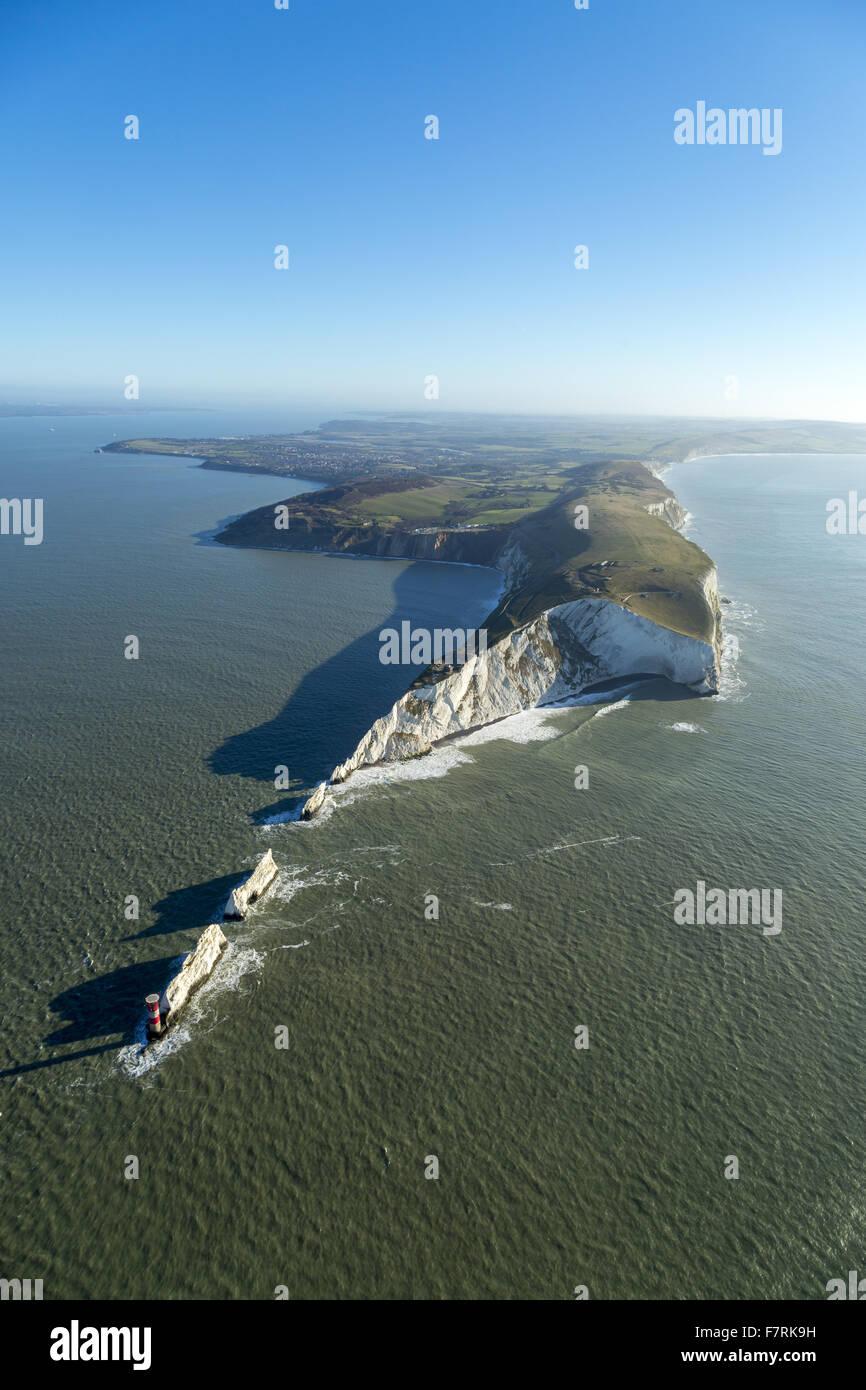 Eine Luftaufnahme der Nadeln alte Batterie und neue Batterie, Isle Of Wight. Stockbild