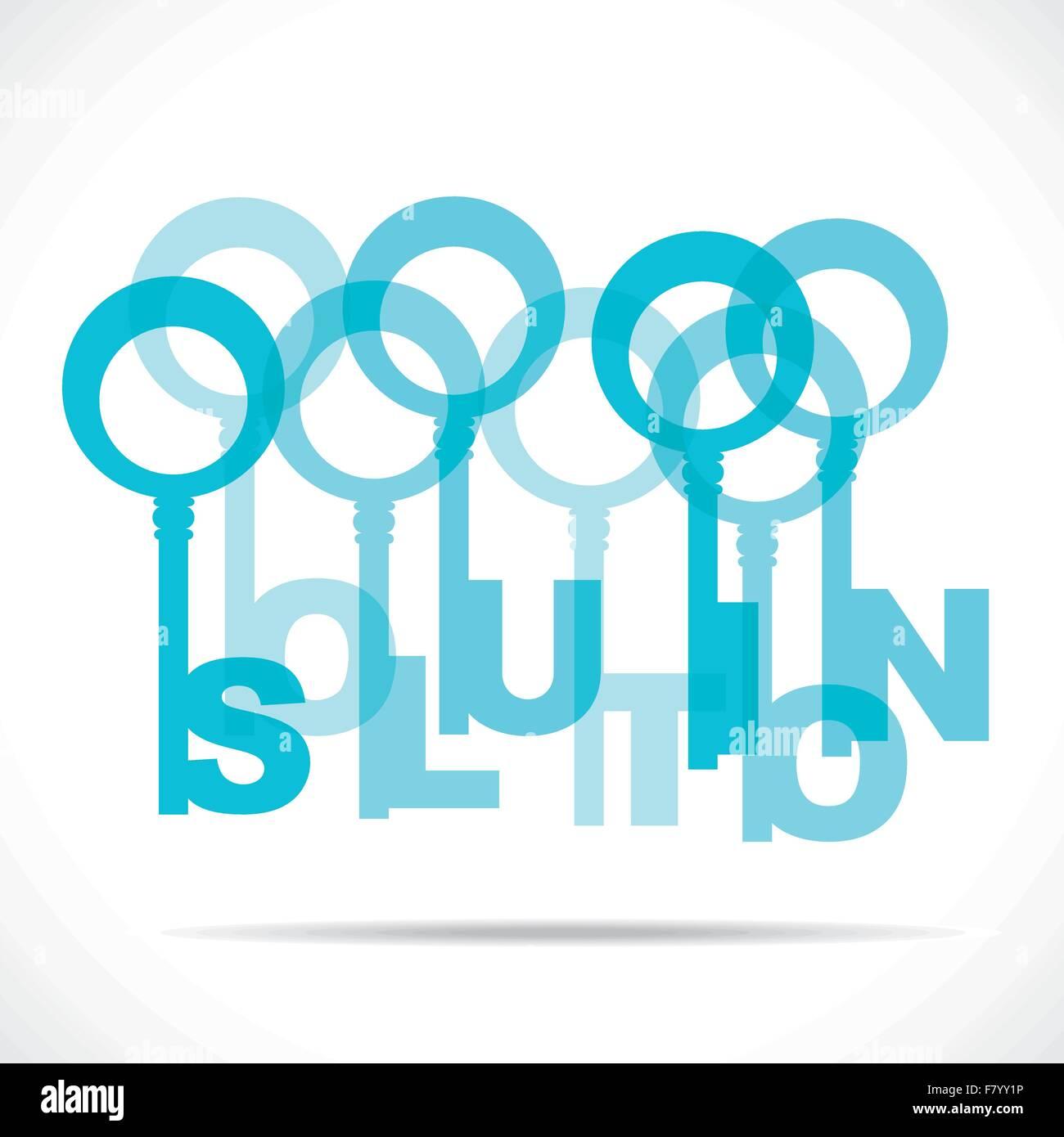 blaue Lösung Wort Schlüssel Stockbild