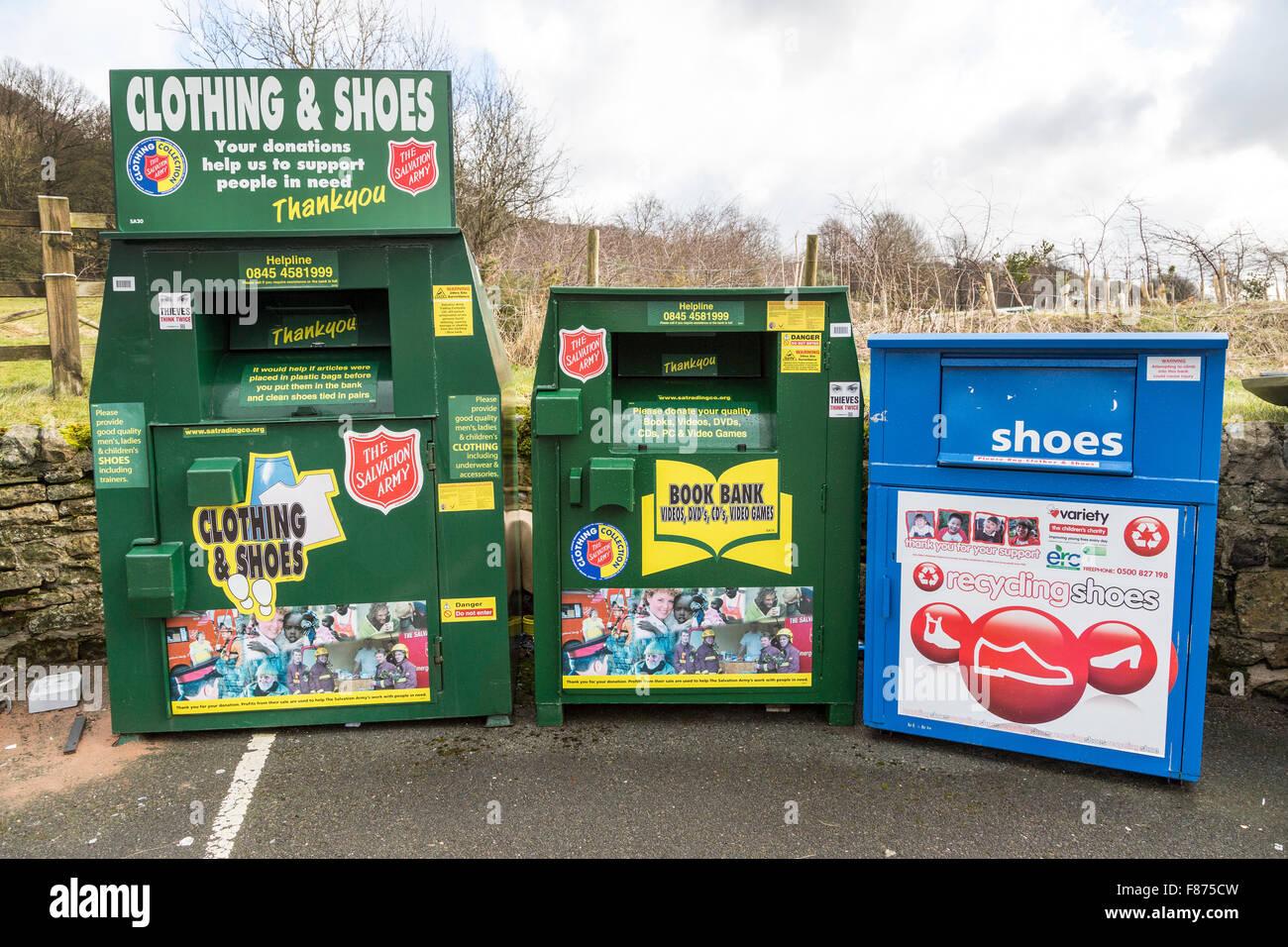 Recycling-Zentrum im Parkhaus, Eyam, UK Stockbild