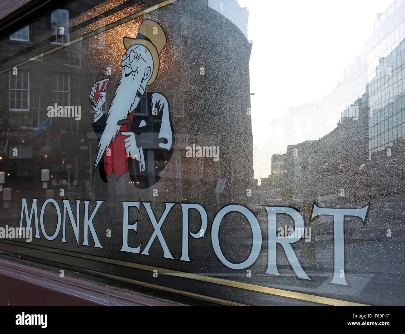 Laden Sie dieses Alamy Stockfoto Mönch exportieren Pale Ale Fenster, schottische Biere, Edinburgh, Scotland, UK - F89PKF