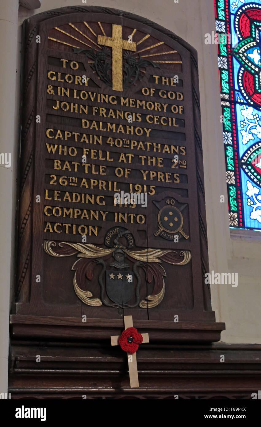 Laden Sie dieses Alamy Stockfoto Denkmal für John Francis Cecil Dalmahoy, britische Armee, 40. Pathans, Kapitän Ypern 26. April 1915, Denkmal, St Johns Edinburgh - F89PKX