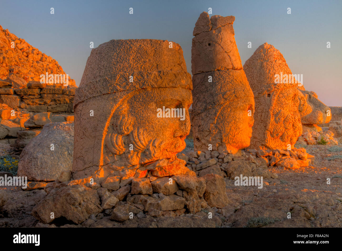 Riesige geformten Köpfen, Mount Nemrut National Park, Türkei, antike Überreste der 2000 Jahre alten Stockbild