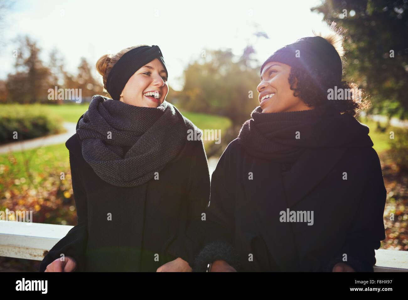 Zwei Frauen in warme Kleidung auf der Brücke im Park und an jedem anderen lächelnd Stockbild