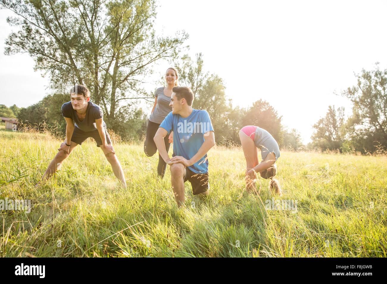 Gruppe von Freunden im Bereich Sport Stockbild