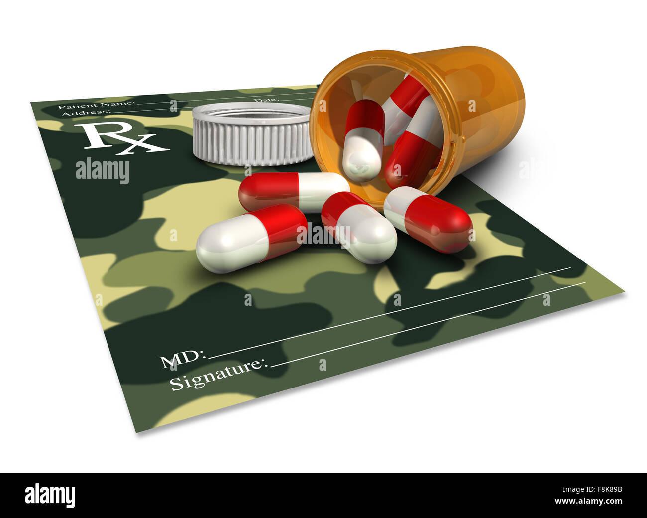 Militärmedizin Konzept als Arzt Rezept mit einer Camouflage-Muster für erfahrene Soldat Therapie oder Stockbild