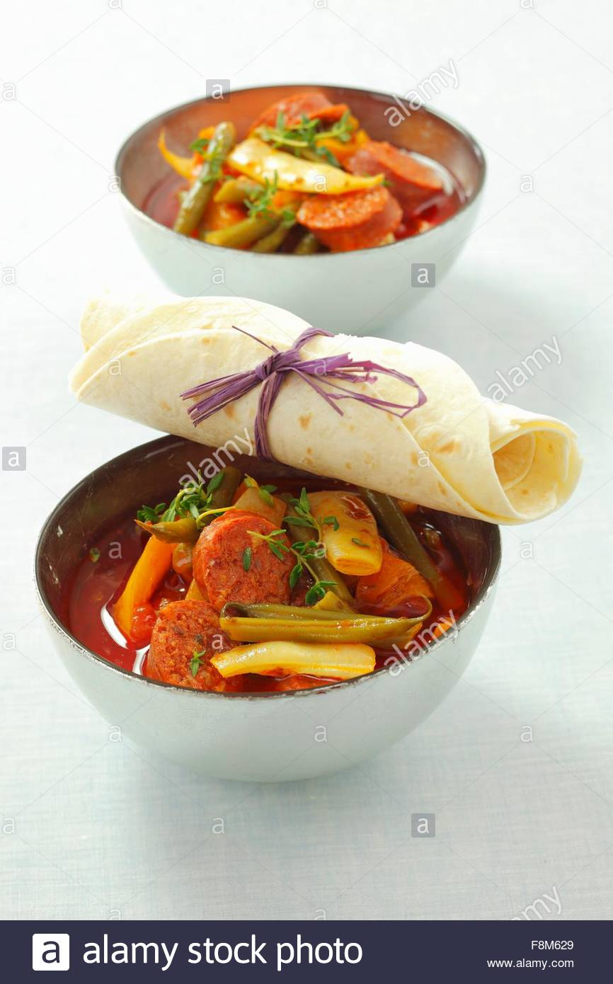 Chorizo und Bohnen-Eintopf Stockbild