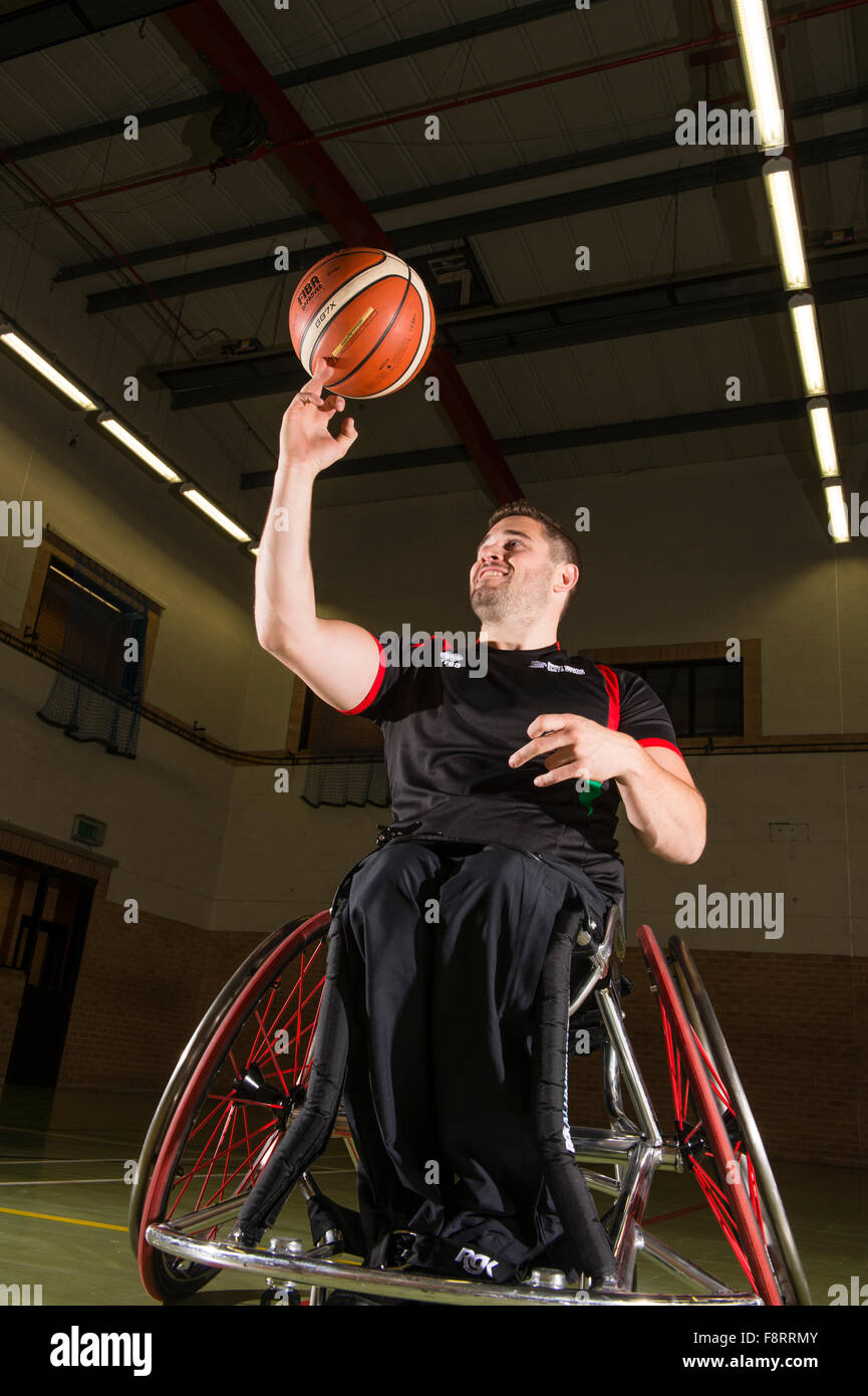 Rhys Lewis, Behinderte, Rollstuhl mit walisischen Sport Basketball-Spieler, Athlet, Wales UK Stockbild