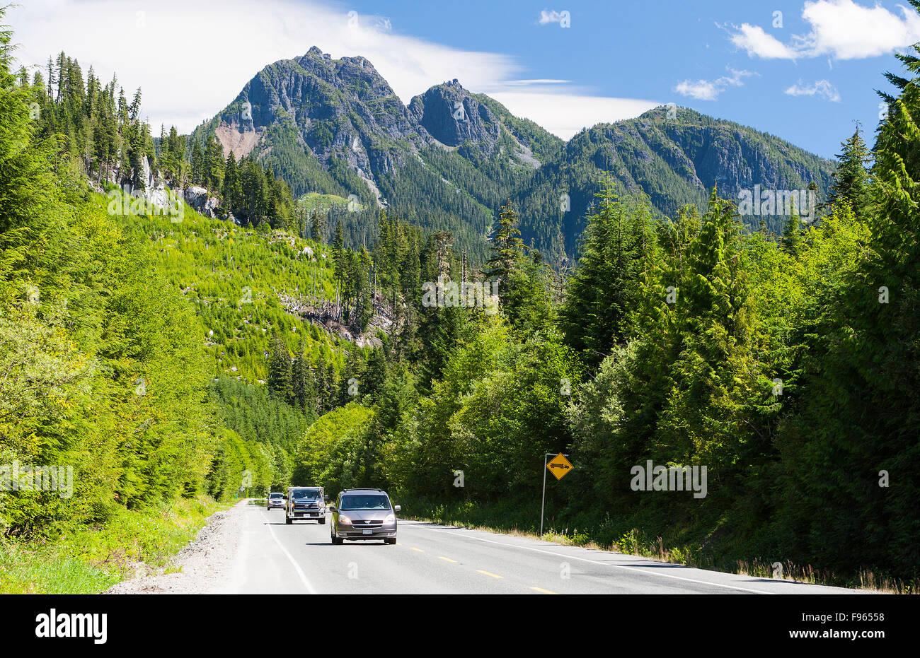 Malerische Autobahn im Nimpkish-Tal entlang Highway 19, nördlich von Hoomak See und südlich von Woss. Stockbild