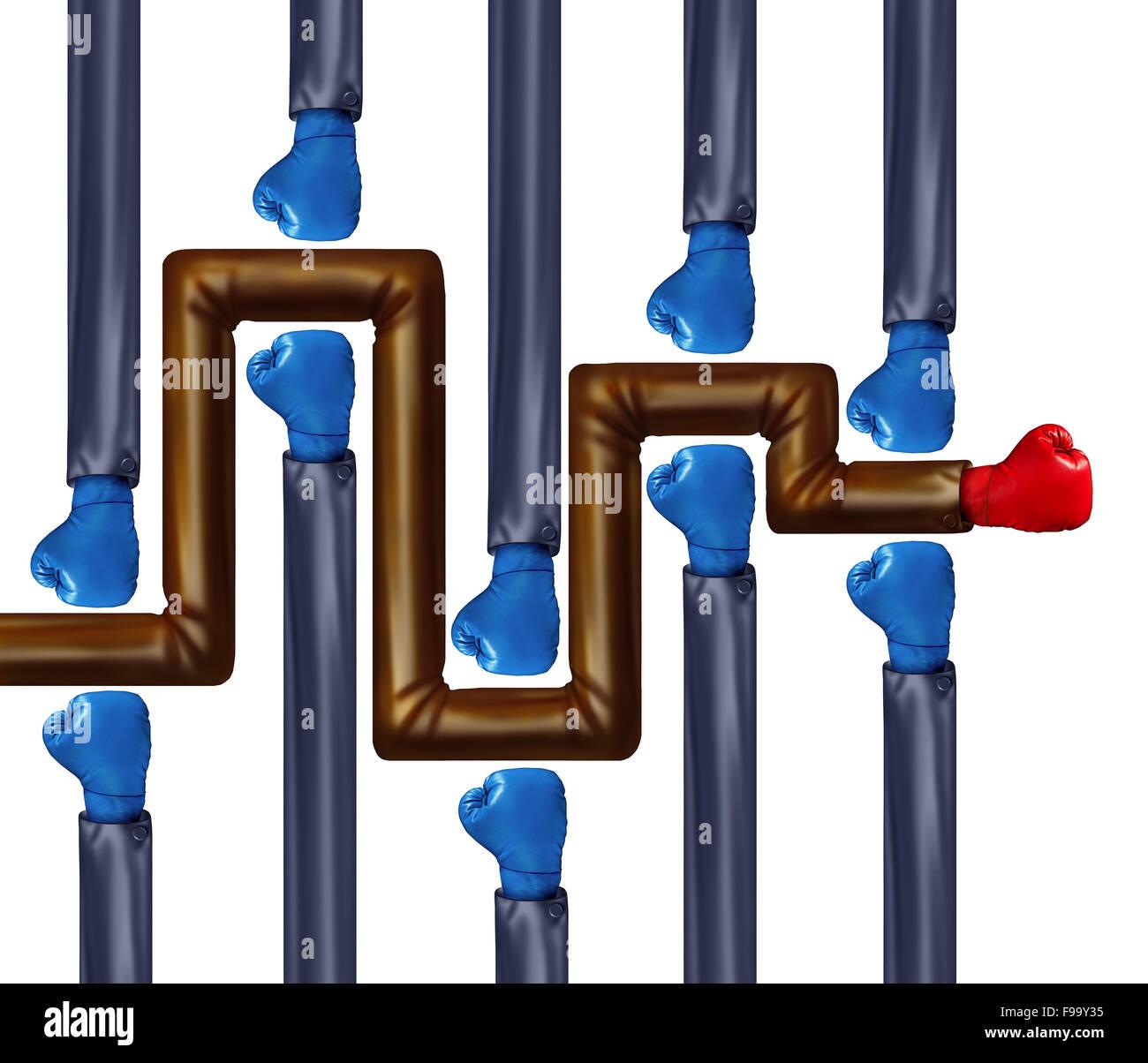 Wettbewerb-Labyrinth als ein Labyrinth Boxhandschuhe getragen von Geschäftsleuten als Symbol und Metapher für Stockbild