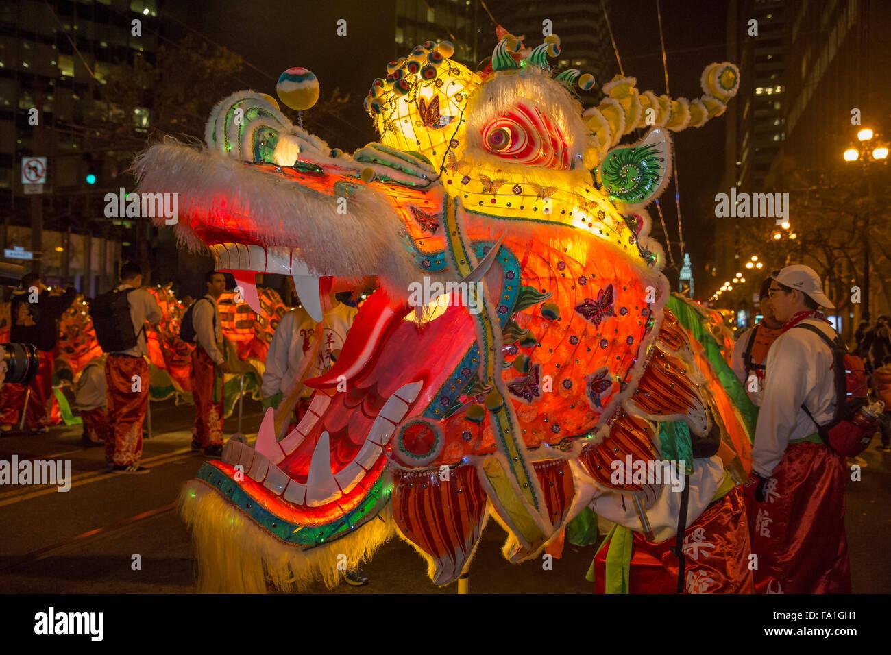 Drachentanz an der Market Street in San Francisco jährliche Chinesische Neujahrsparade Stockbild