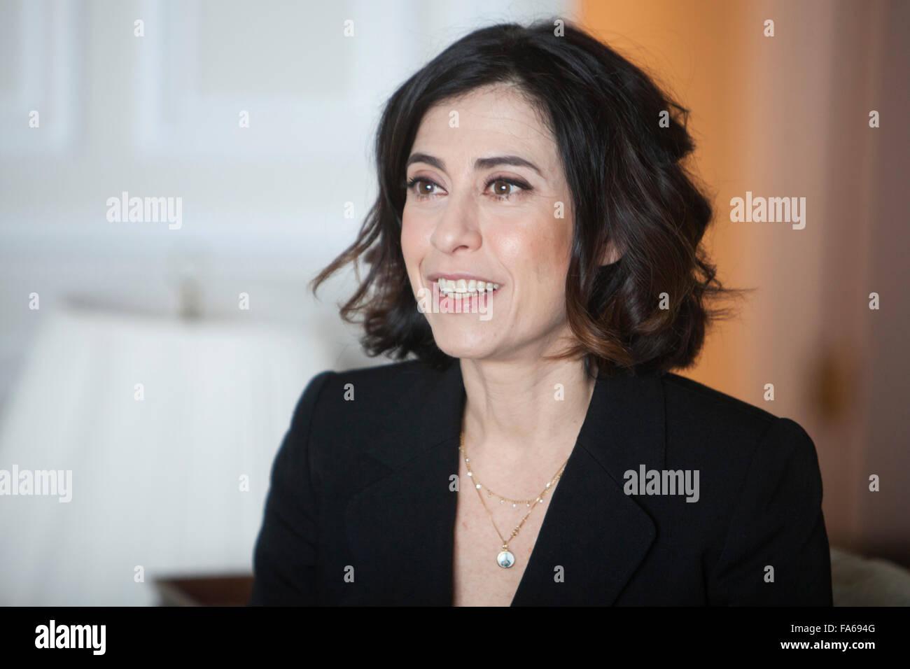 Brasilianische Schauspielerin Fernanda Torres in einem Interview. Stockbild