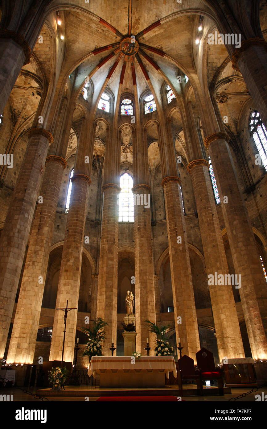 Kirche Santa Maria del Mar, La Ribera, Barcelona, Spanien, Europa Stockbild