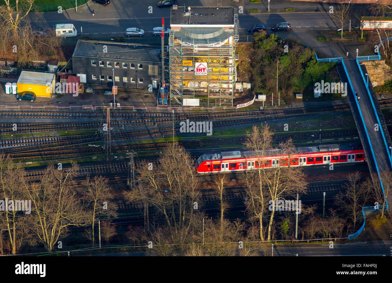 Luftaufnahme, Stellwerk baute Styrum nach einem Brand, Deutsche Bahn, Bahn Verzögerungen, Feuer Schaden, Eisenbahn, Stockbild