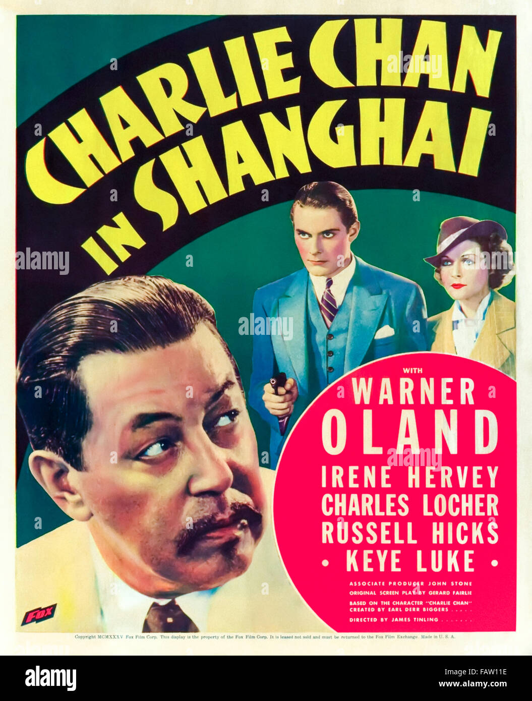 """""""Charlie Chan in Shanghai"""" 1935 Poster. In diesem Film unter der Regie von James Tinling enthüllt Stockbild"""