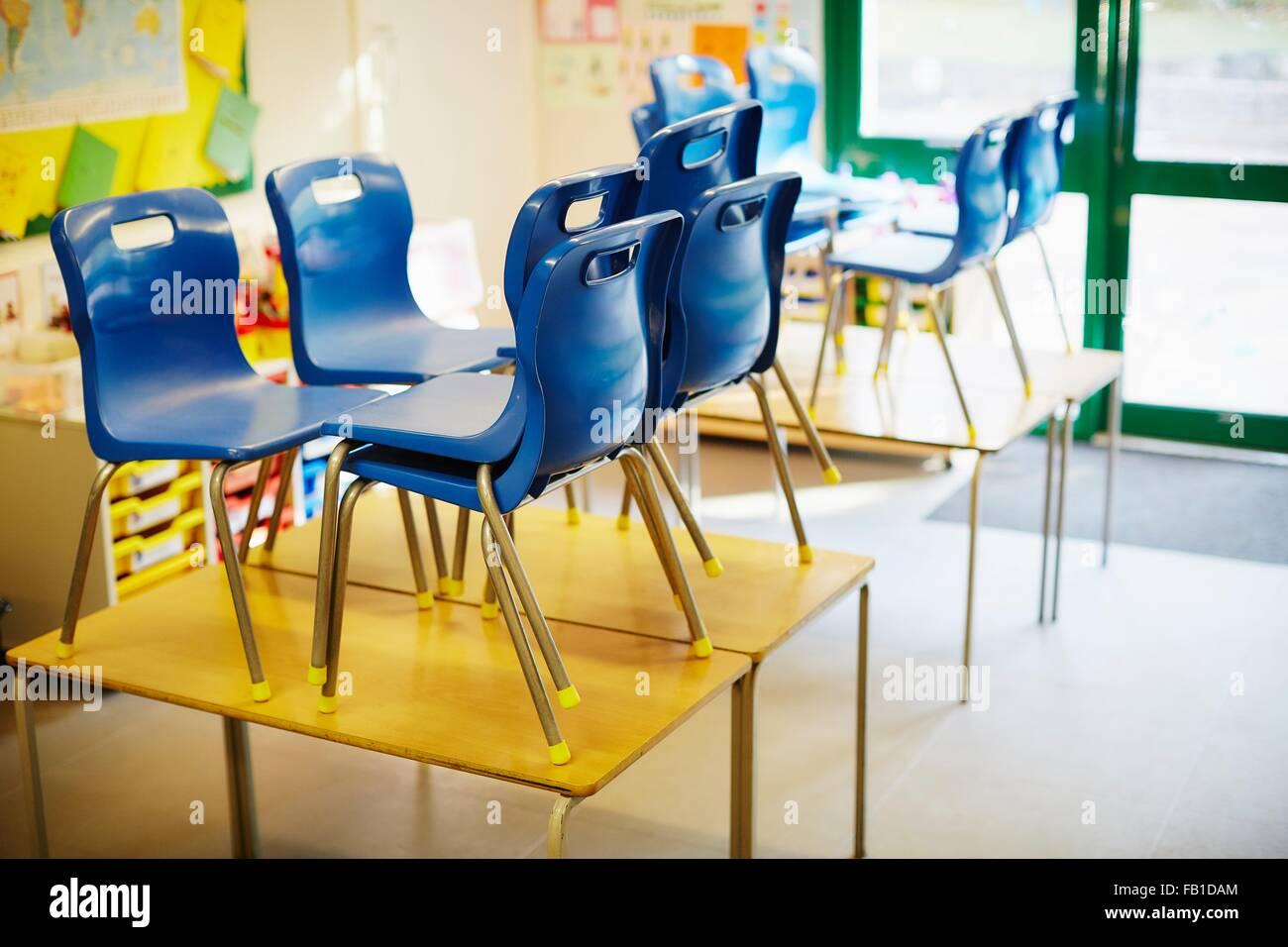 Empty elementary school classroom stockfotos empty for Schreibtisch grundschule