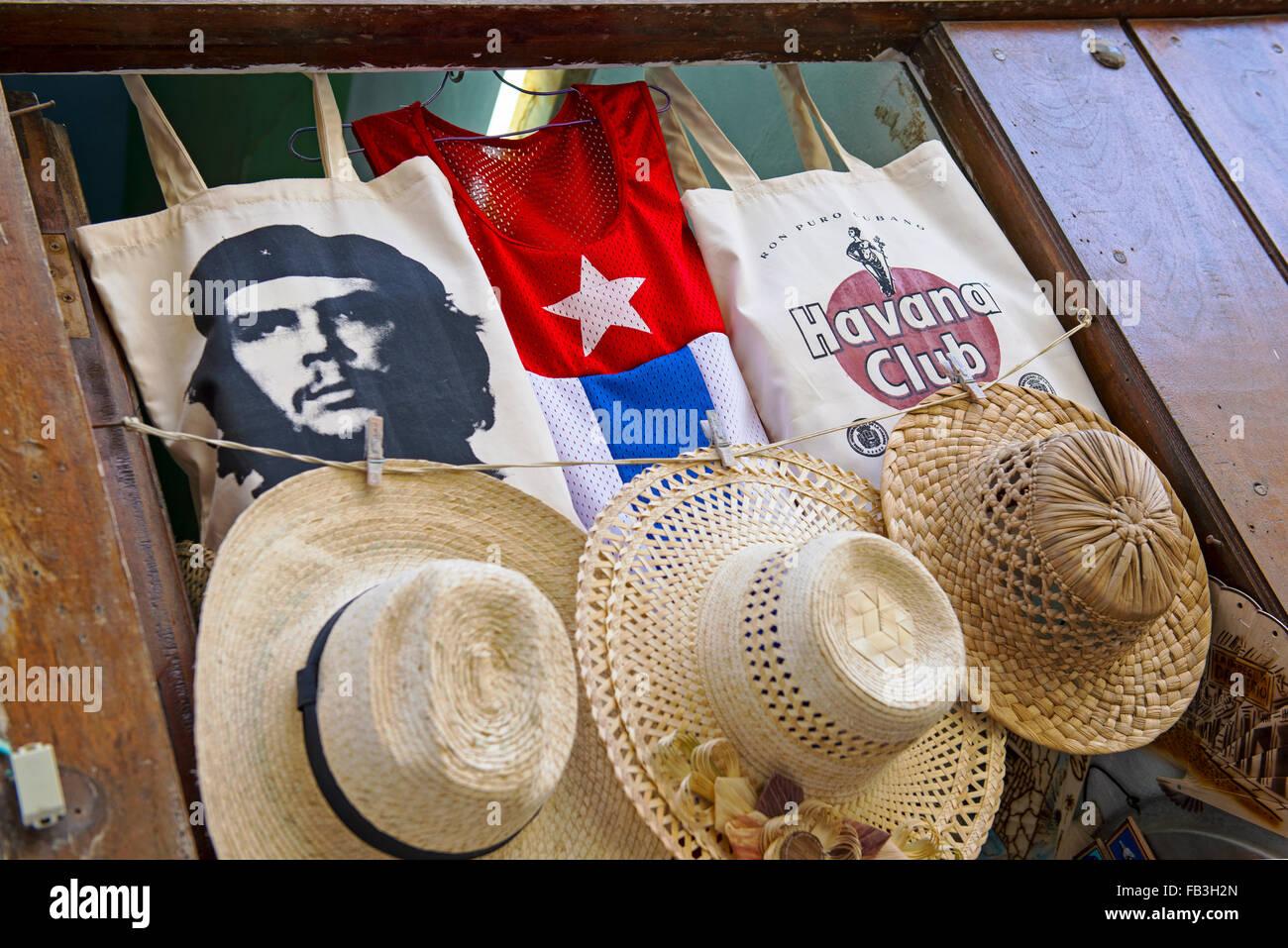 Kuba Souvenirs, Mützen T-shirts Che Guevara Stockbild