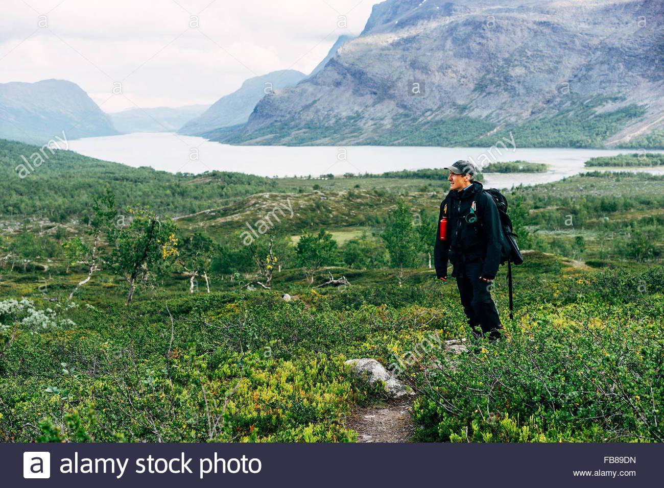 Schweden, Lappland, Kaitumjaure, Kungsleden, männliche Wanderer im Hochtal Stockbild