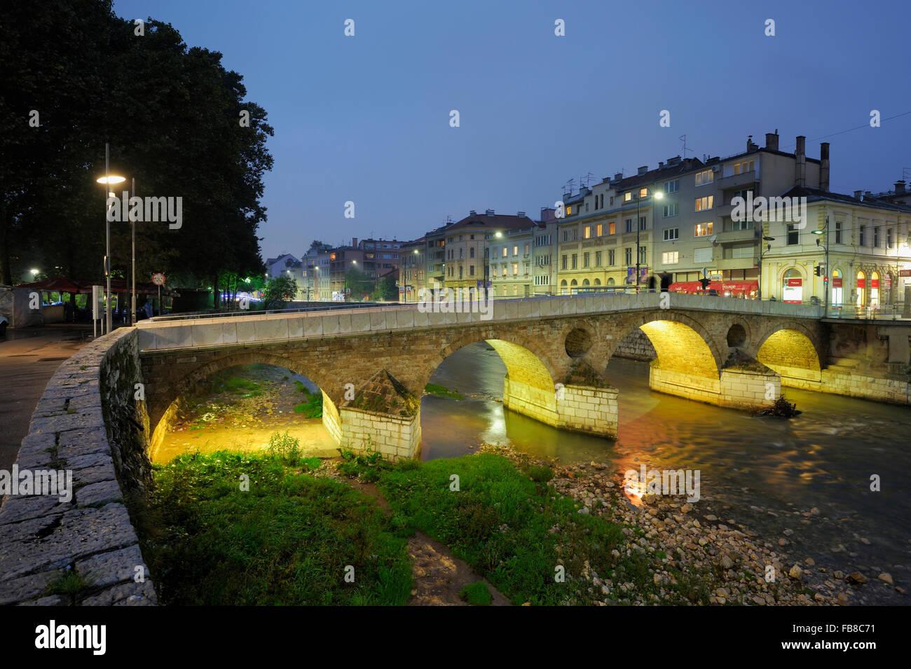 Latinska Cuprija (Latin Bridge), Stari Grad, Sarajevo, Kanton Sarajevo, werden Bosne ich Hercegovine, Bosnien und Stockbild