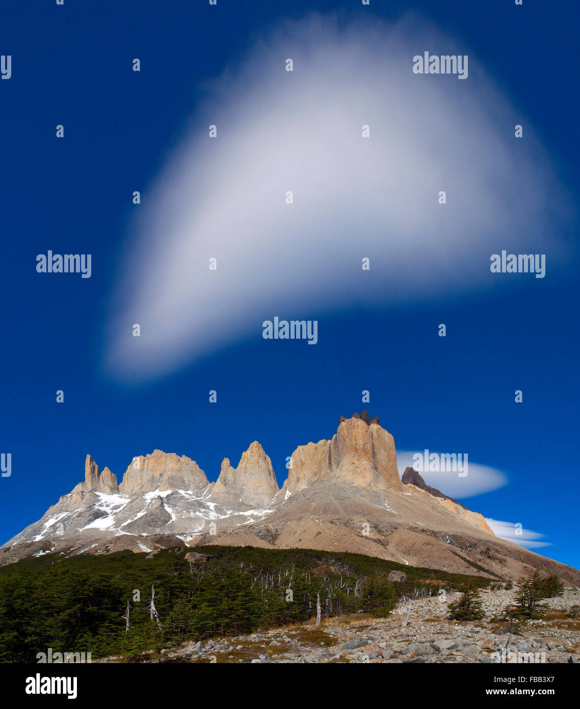 Paine massiv vom Kopf des Französisch-Tal, Torres Del Paine, Patagonien Stockbild