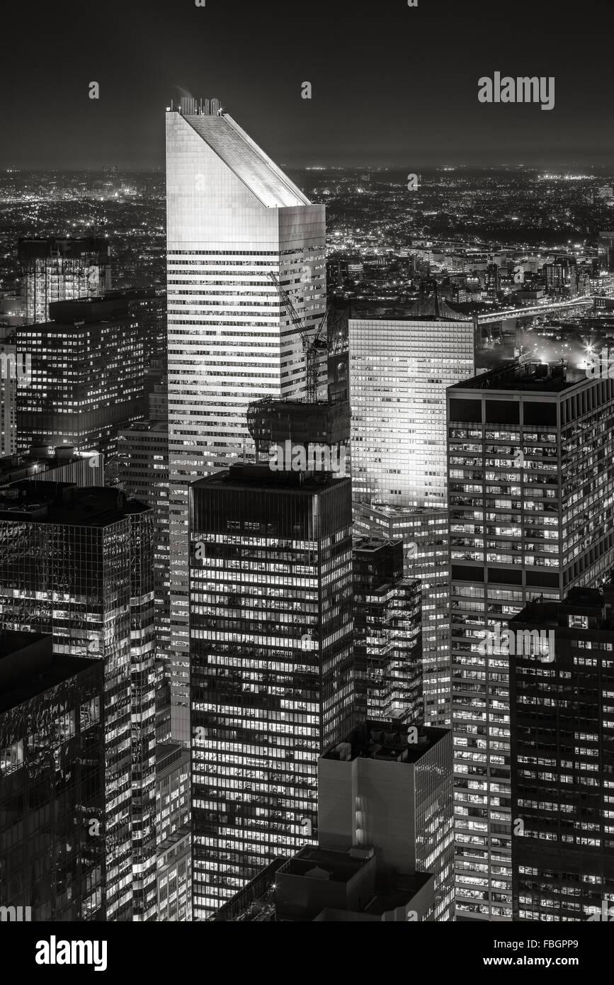 Schwarz & White New York Midtown Luftbild an nahe, mit einer der höchsten Wolkenkratzer von Manhattan: Stockbild