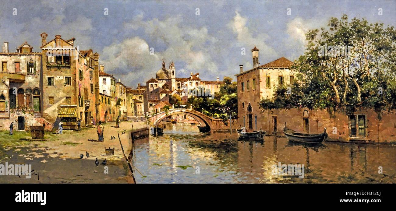 Venezianischen Kanal von Reyna Manescau, Antonio María 1859-1937 Spanisch Spanien Stockbild