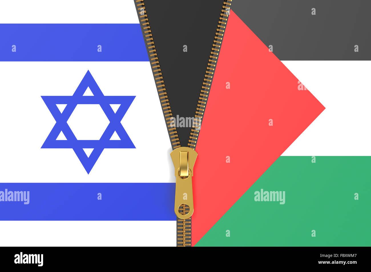 Flaggen von Israel und Palästina, Konflikt-Konzept Stockbild