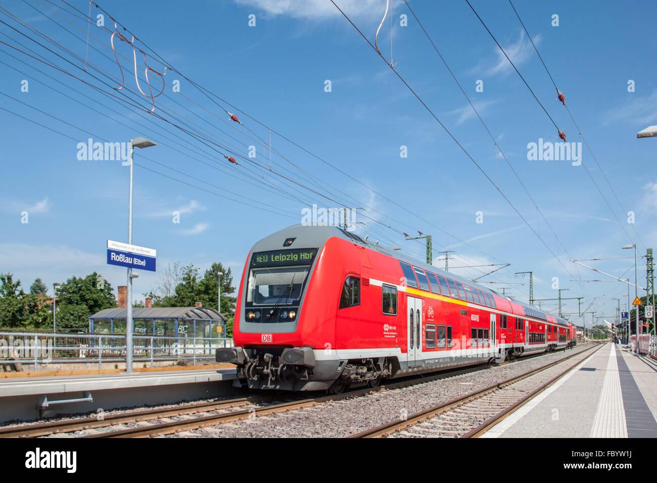 Bahnhof von Roßlau nach Modernisierung Stockbild