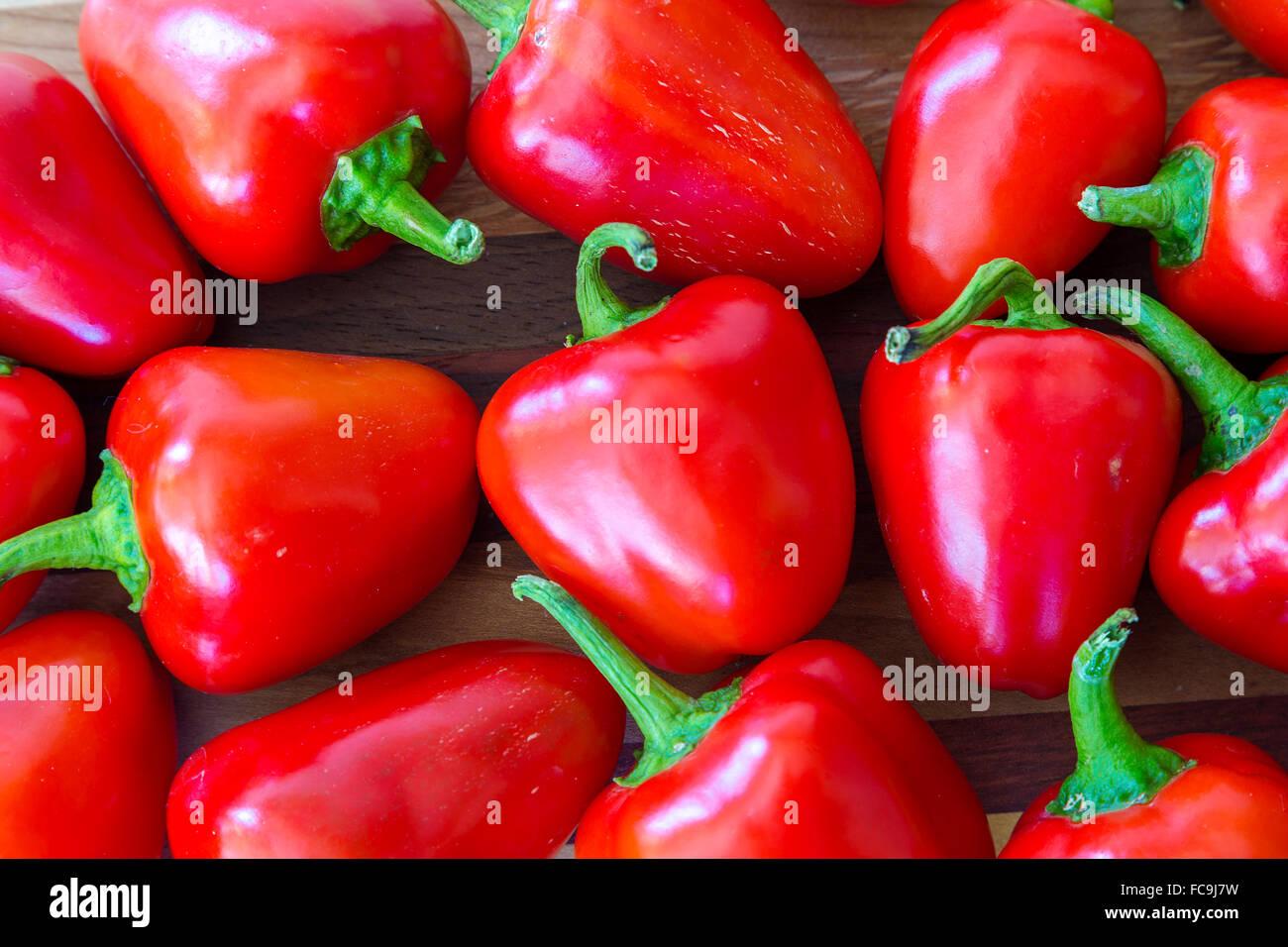 Kleine rote Paprika aus dem Hausgarten. Stockbild