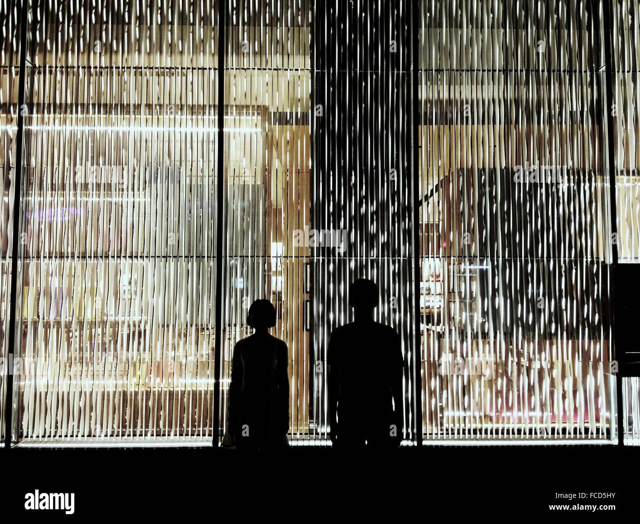 Silhouette paar gegen Fenster mit Jalousien Stockbild