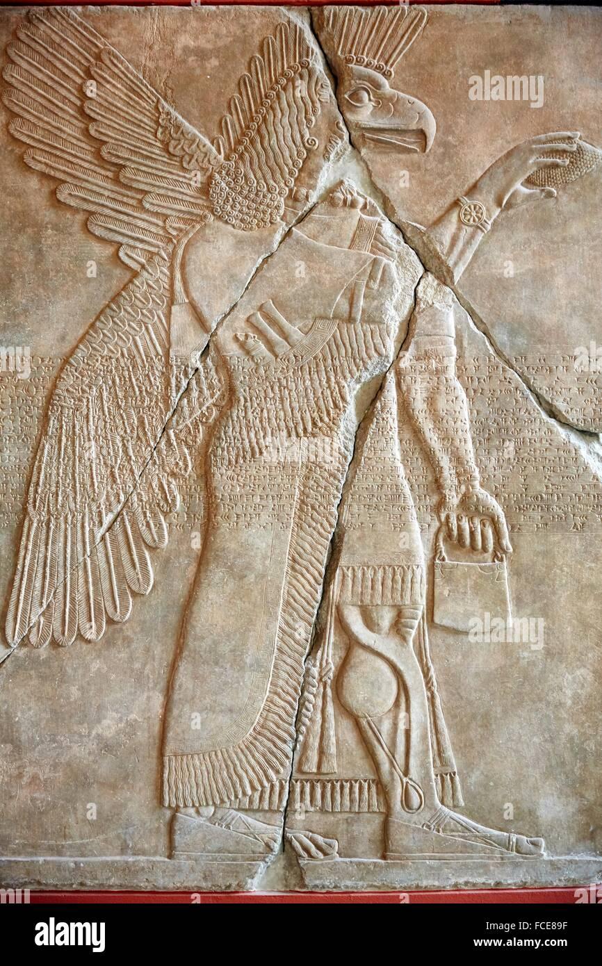 Palast-Relief, Rekonstruktion der assyrischen Palast, Pergamon Museum, Berlin, Deutschland. Stockbild