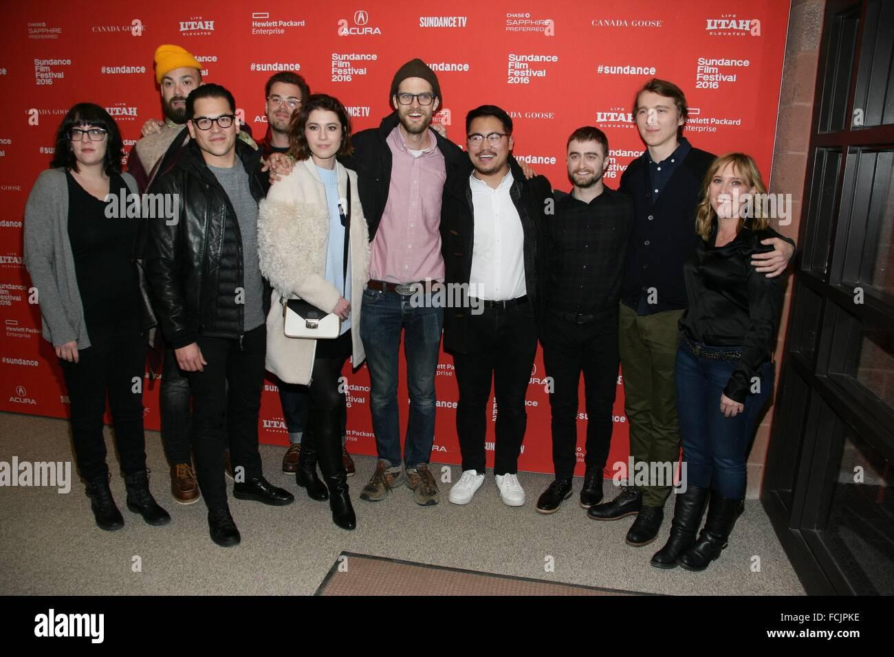 Park City, UT, USA. 22. Januar 2016. Mary Elizabeth Winstead, Daniel Scheinert, Dan Kwan, Daniel Radcliffe, Paul Stockbild
