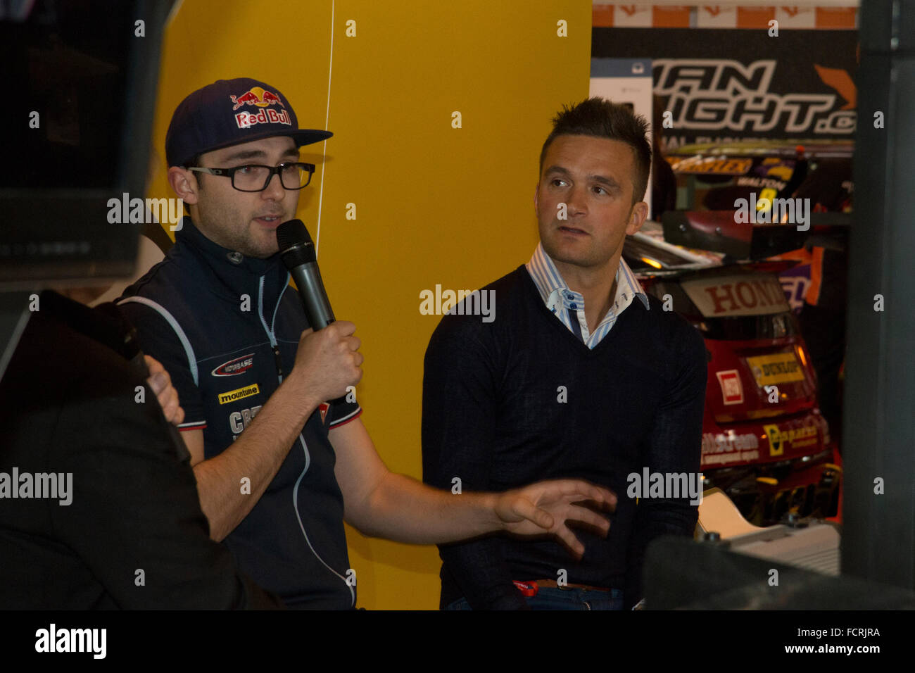 Andrew Jordan und Colin Turkington bei Autosport International 2016 NEC Birmingham UK Stockbild