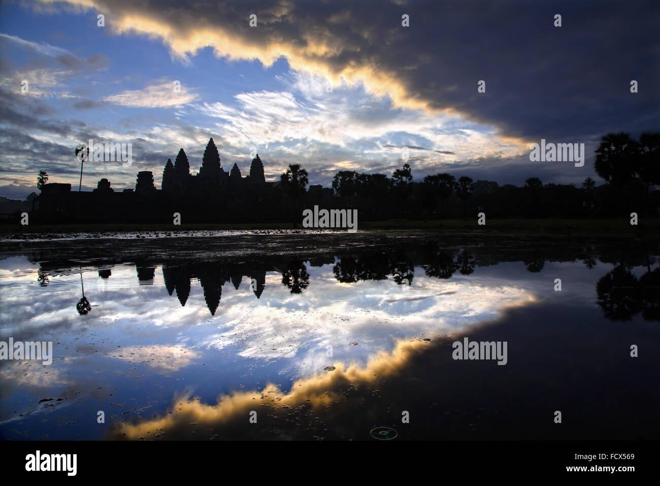 Sonnenaufgang am Angkor Vat, Kambodscha Stockbild
