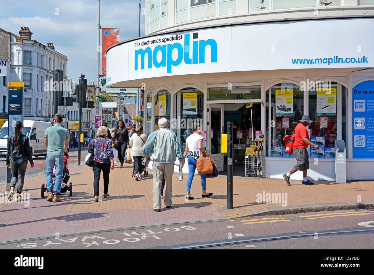 Maplin Electronics Gadgets und Computing Store auf eine Ecke in Croydon, London Stockbild