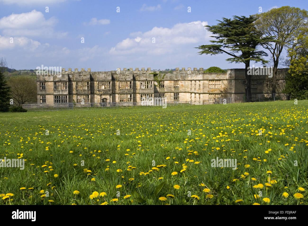 Blick über eine Wildblumenwiese in Richtung der Hall gebaut zwischen 1603 und 1620 mit Umbauten im 18. und Stockbild