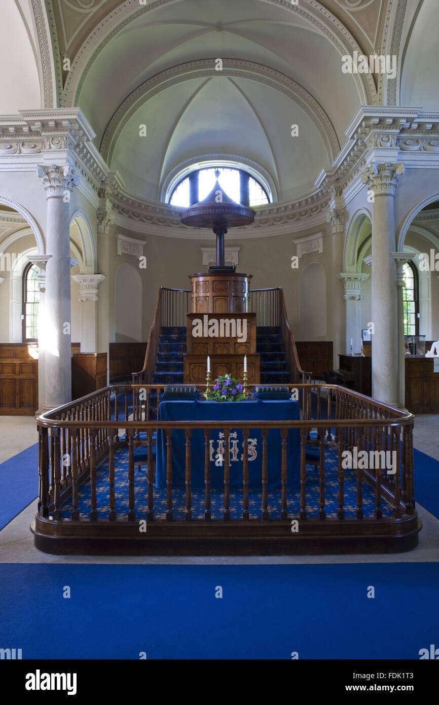 Im Inneren der palladianischen Kapelle begonnen im Jahre 1760 auf das Design von James Paine, bei Gibside, Newcastle Stockbild