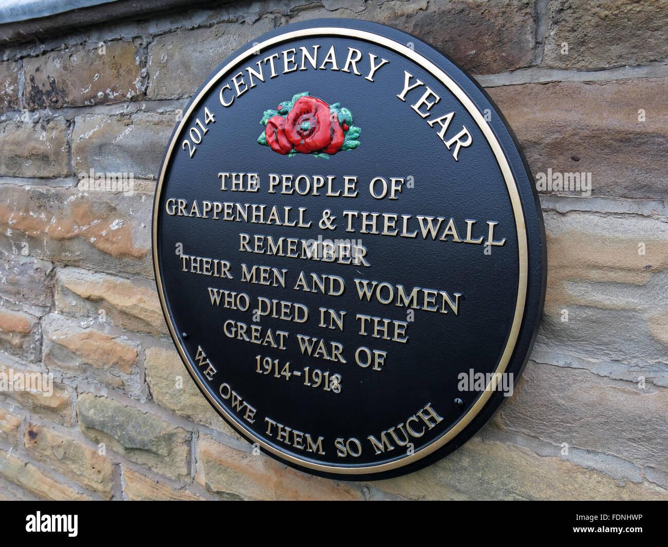 Laden Sie dieses Alamy Stockfoto 2014 Jubiläumsjahr Plaque, Grappenhall & Thelwalls - Weltkrieg 1914-1918, Cheshire, England, UK - Evangelisch-methodistische Kirche - FDNHWP