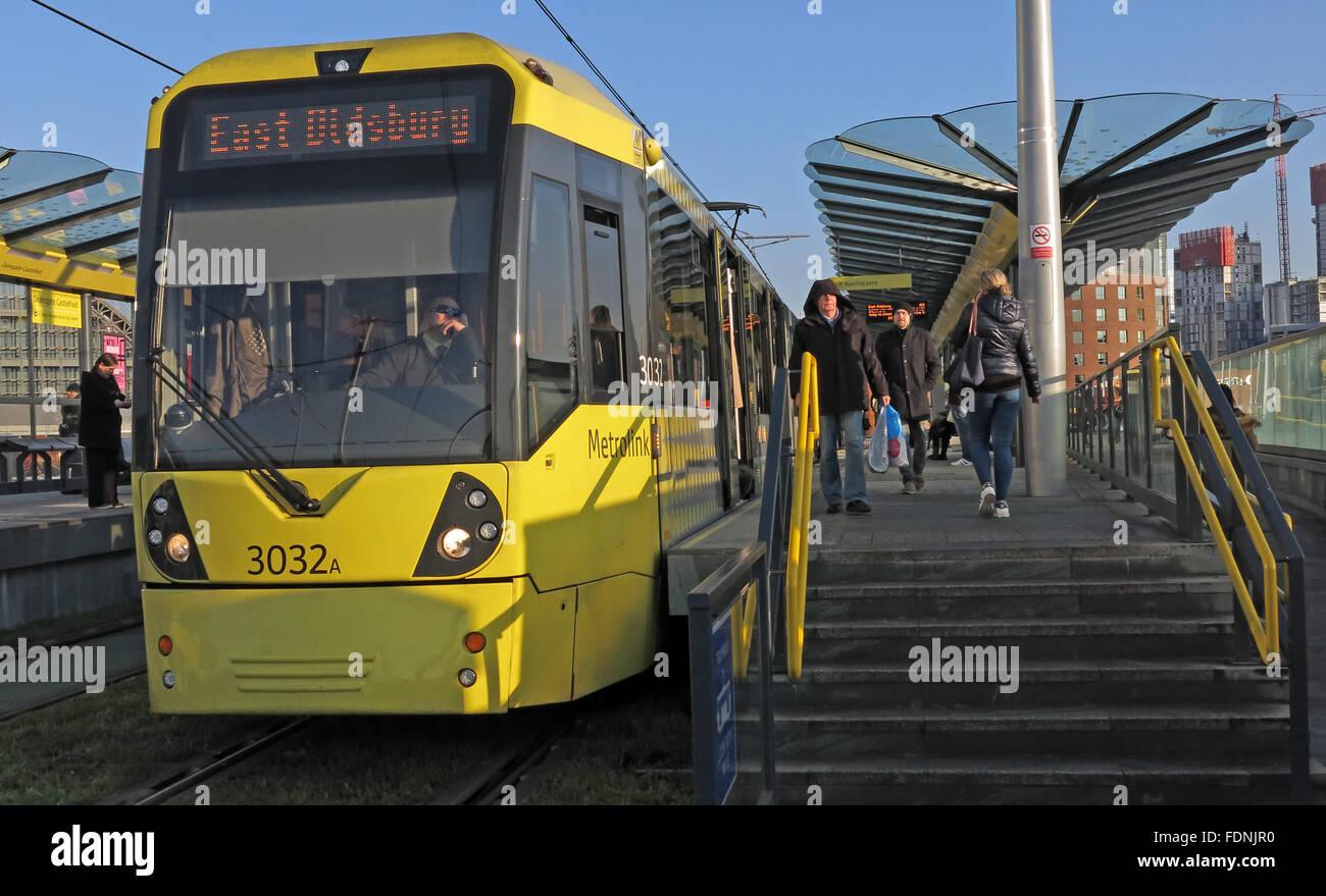 Laden Sie dieses Alamy Stockfoto East Didsbury Metrolink Tram, Castlefield, Deansgate, Manchester, England, Vereinigtes Königreich - FDNJR0