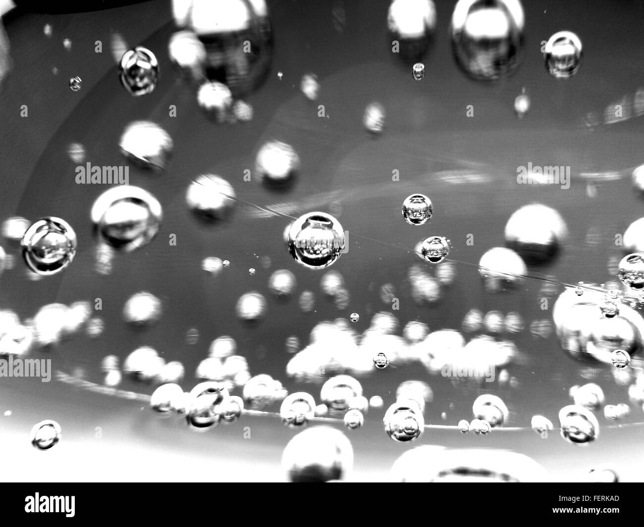 Detail der Luftblasen im Wasser Stockbild