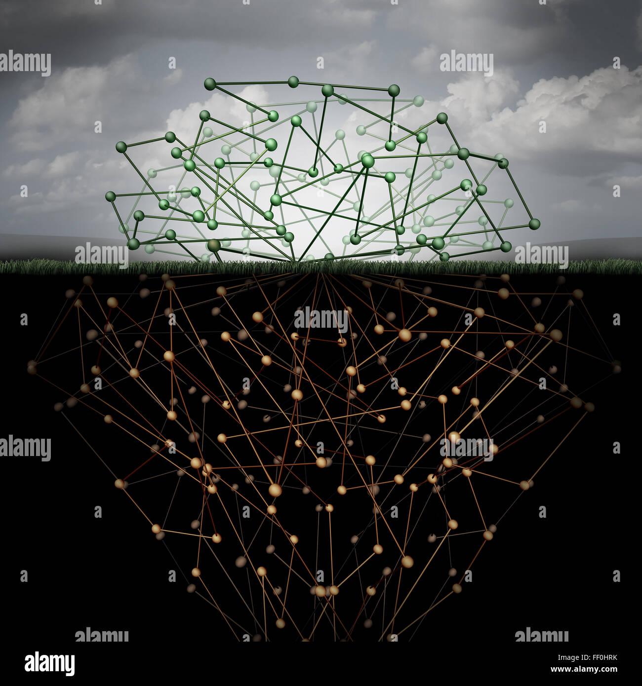 Dunklen Web und versteckte Internet-Technologie als eine versteckte Website im Cyberspace unterirdischen Suchmaschinen Stockbild