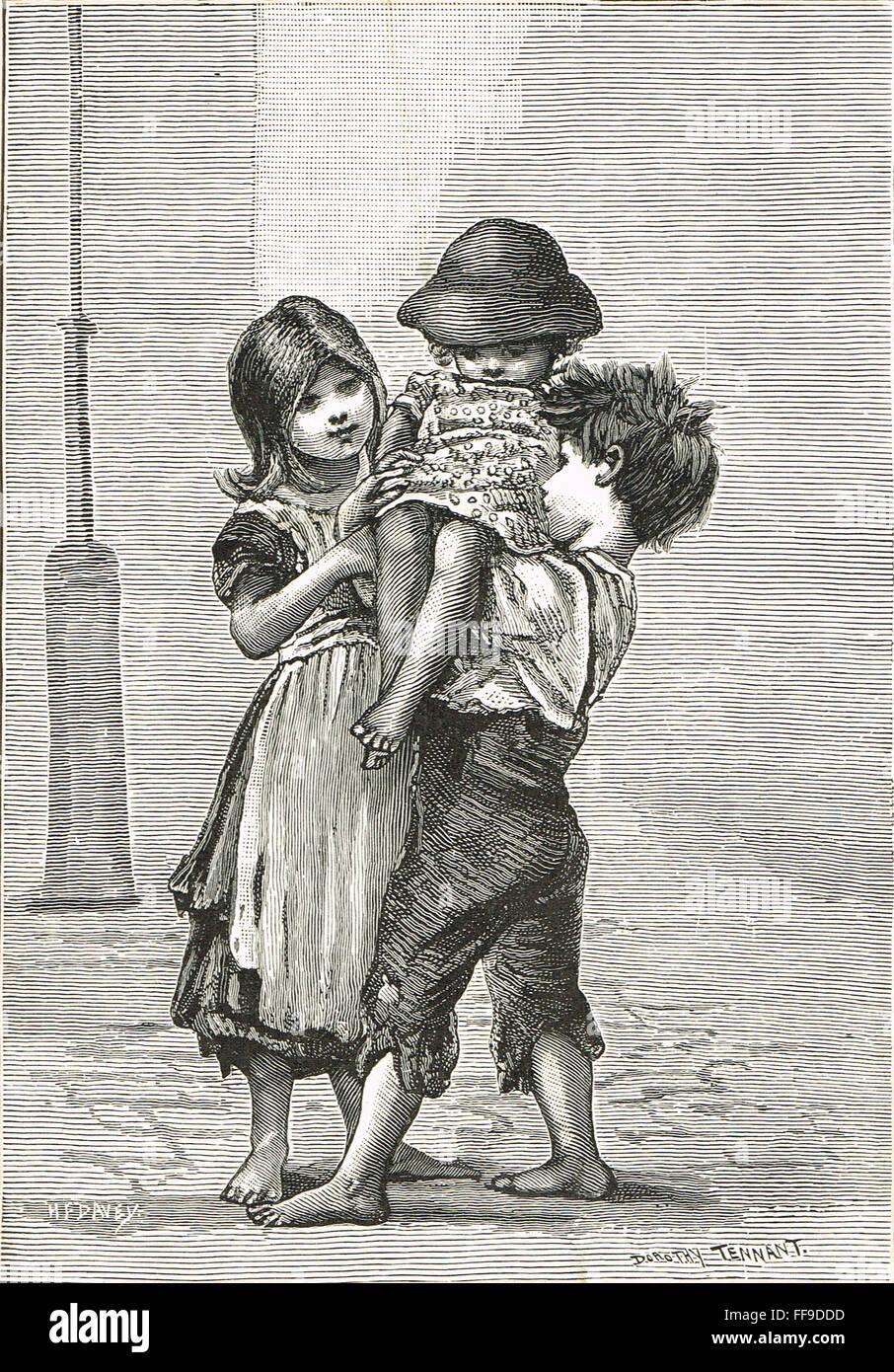 Viktorianischen London Street Araber auf der Suche nach den jüngsten Stockbild