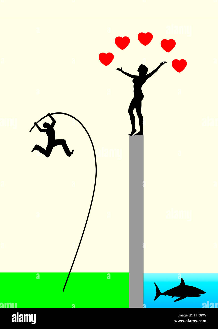 Risiko der Liebe Stockbild